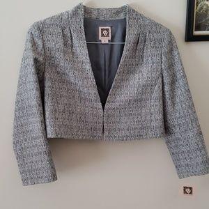 NWT Anne Klein cropped grey blazer size 10